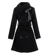 Novo Luxo Casaco de Inverno Mulheres Jaqueta de Inverno e Casacos de Lã Trespassado 4 Cores Plus Size Casaco de Lã Casaco Feminino Casaco