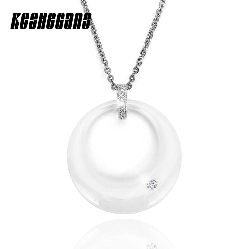 New Chinese Ceramic Round Pendant Necklace With Crystal Rhinestone White Color 40cm Stainless Steel Chain For Women Elegant Gift