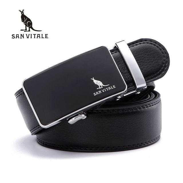 Mens Cinturones para Hombre Pretina Desmontable Trimmer Hebillas Hombres cinturón De Cuero Real de la Marca Diseño Casual Hebilla de trinquete de alta calidad