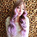 Top Sweet Big Wavy Women Cos Hair Wigs Long Synthetic Full Wigs Brown Gradient Lavender Cosplay Lolita Wigs High Quality