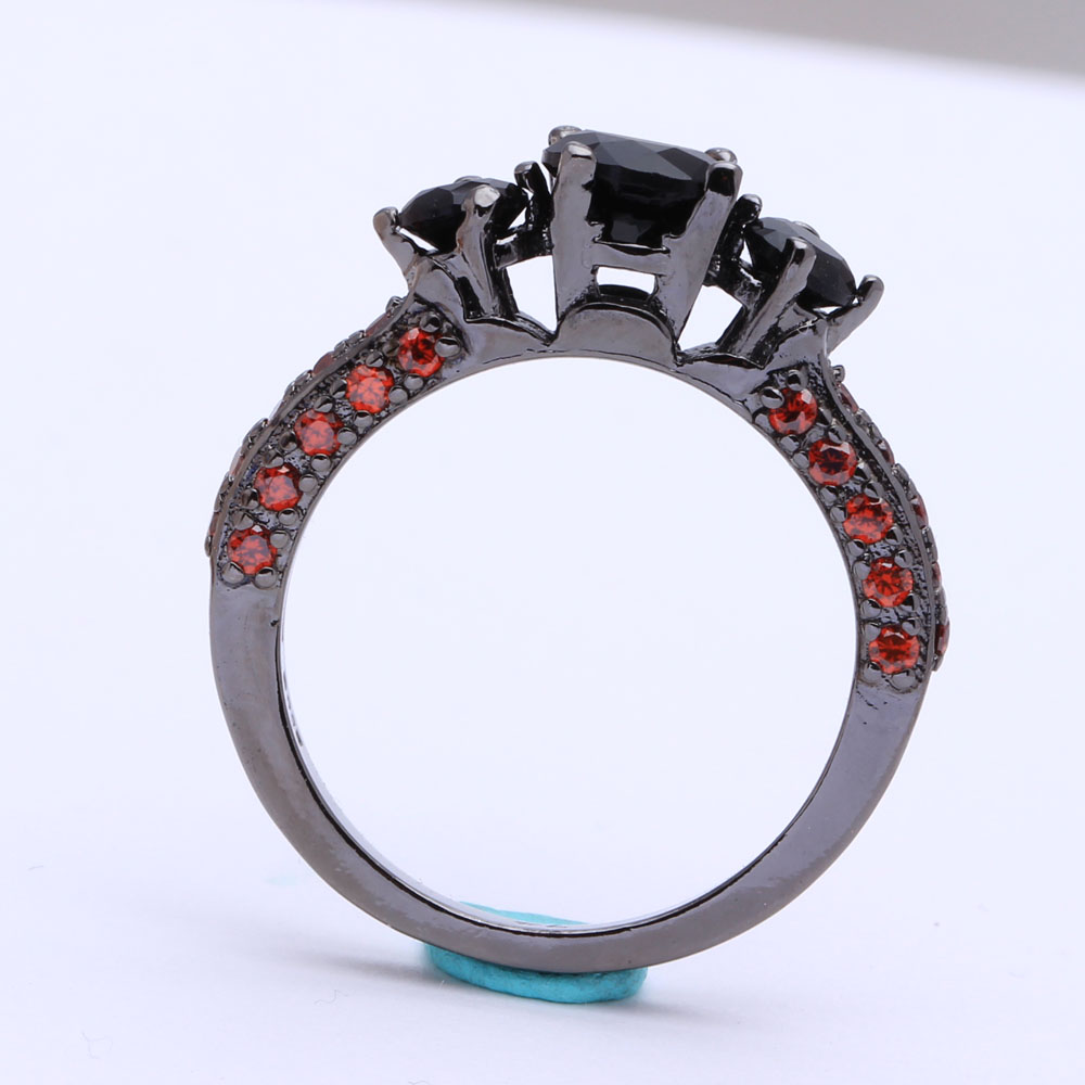 Black zircon Rings for women wholesale factory luxury black Engagement Ring red new fashion PROMISE RING