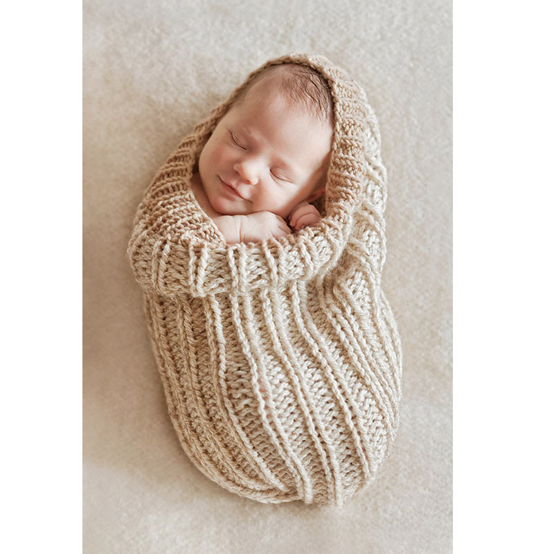 Knitting Patterns For Newborn Photography Props : Aliexpress.com : Buy Newborn Baby Beige Swaddle Sack Prop ...