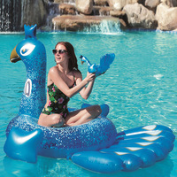 Giant Inflatable Glitter Peacock Swimming Pool Float Ride on Peacock Air Mattress Summer Party Toys Raft Lounge for Adult Kids