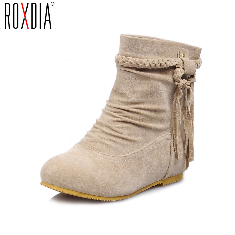 ROXDIA Fashion PU Leather Fringe Women Ankle Boots for Spring Autumn Height Increasing Woman Shoes Big size 36-43 RX003