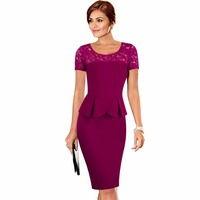 Summer Style Sexy Women Lace Short Sleeve Elegant Casual Office Work Sheath Fitted Pencil Dress EB386