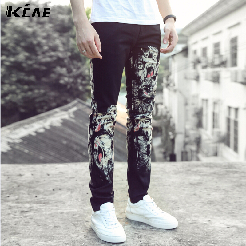ФОТО 2016 new fashion straight leg jeans long men male printed denim pants cool cotton designer good quality  trousers