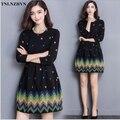 TNLNZHYN 2017 Весна Осень Dress Новый Женский Средней длины Тонкий Dress Casual Большой Размер Dress Корейской Моды Печати Dress AB699
