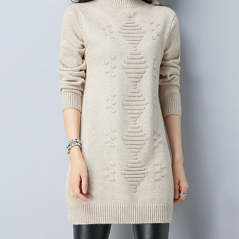 2019 Women Autumn Winter Sweater Long Sleeve Female Casual Long Sweaters Solid Color Womens Jumper Pullover