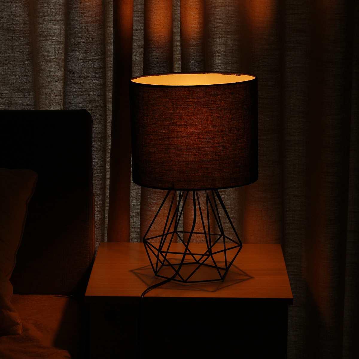 Decorativo retro geométrico lâmpada de mesa tambor