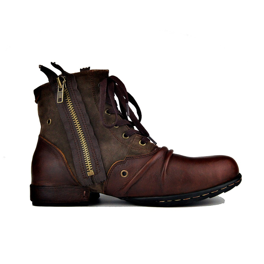 OTTO ZONE Moto Boots for Men Fashion Zipper-up Leather Chukka Boots with Fur Casual Shoes OZ-5008-6