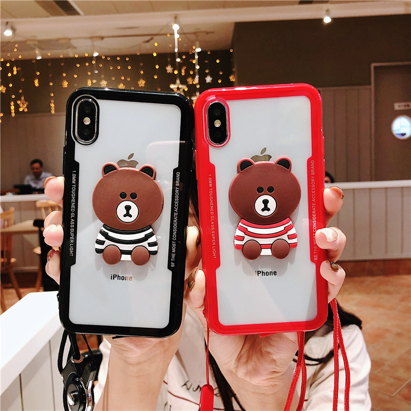 Popular Cute Cartoon Bear Phone Case for iPhone X XS XR Case iPhone XS Max Acrylic Back Cover For iPhone 6 6s 8 7 iPhone 8 Plus