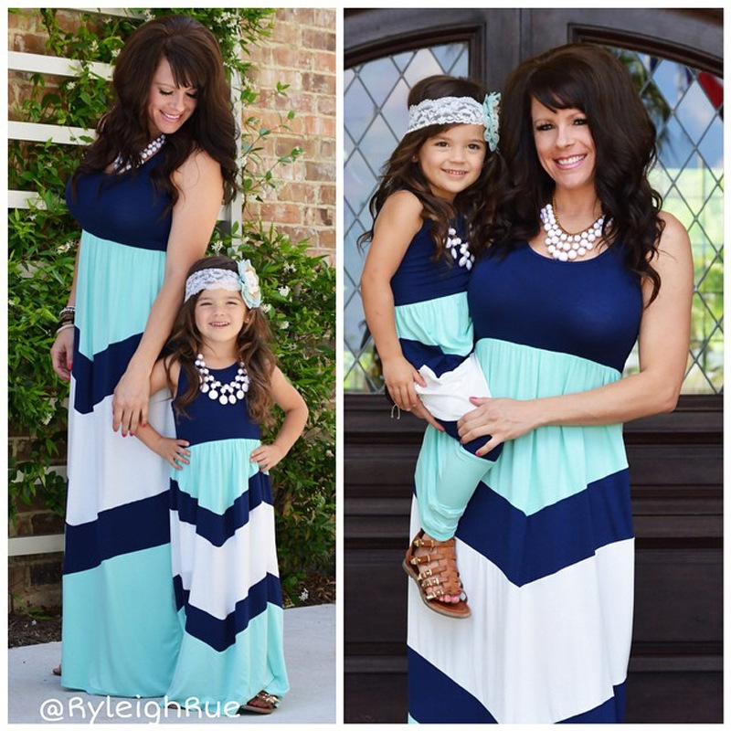 Summer season Mom Daughter Clothes Ankle-Size Mom & Children Garments Household Matching Outfits Distinction Colour blue A-Line Costume DS19 Matching Household Outfits, Low-cost Matching Household Outfits, Summer season Mom...