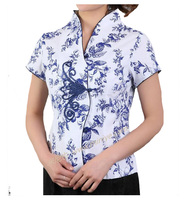 Blusas Femininas Women Casual Cotton Flower Blouse V Neck Shirt Tops Chinese Traditional Tang Suit Plus Size S XXXL