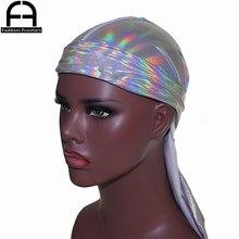 Mens Sparkly Colorful Durags Turban Bandanas Headwear Silky Inside Men Durag Wave Caps Hair Accessories Doo Rag Pirate Hat