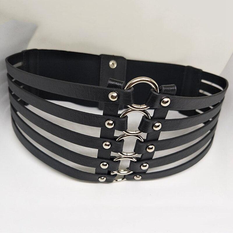 Women metal wide belts