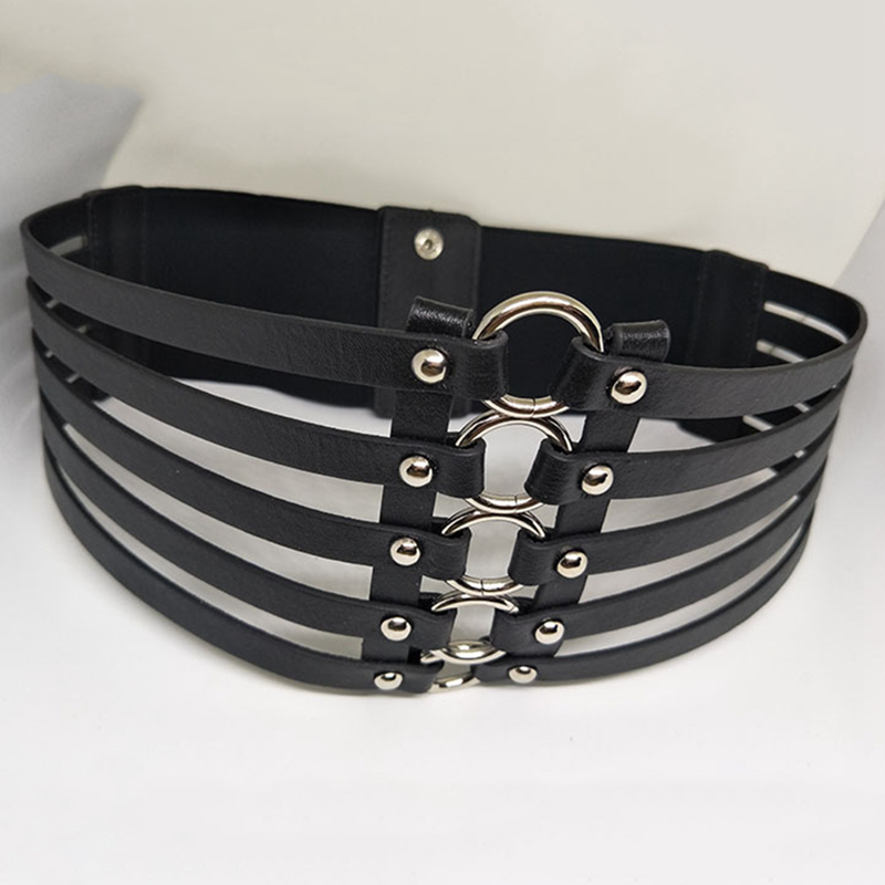 Women metal wide   belt   hollow leather girl   belt   alloy elastic lady multilayer   belts   Vintage Leather Strap Buckle   belt