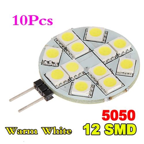 10x) 10x G4 5050 SMD 12 lumière LED ampoule Marine de voiture blanche chaude