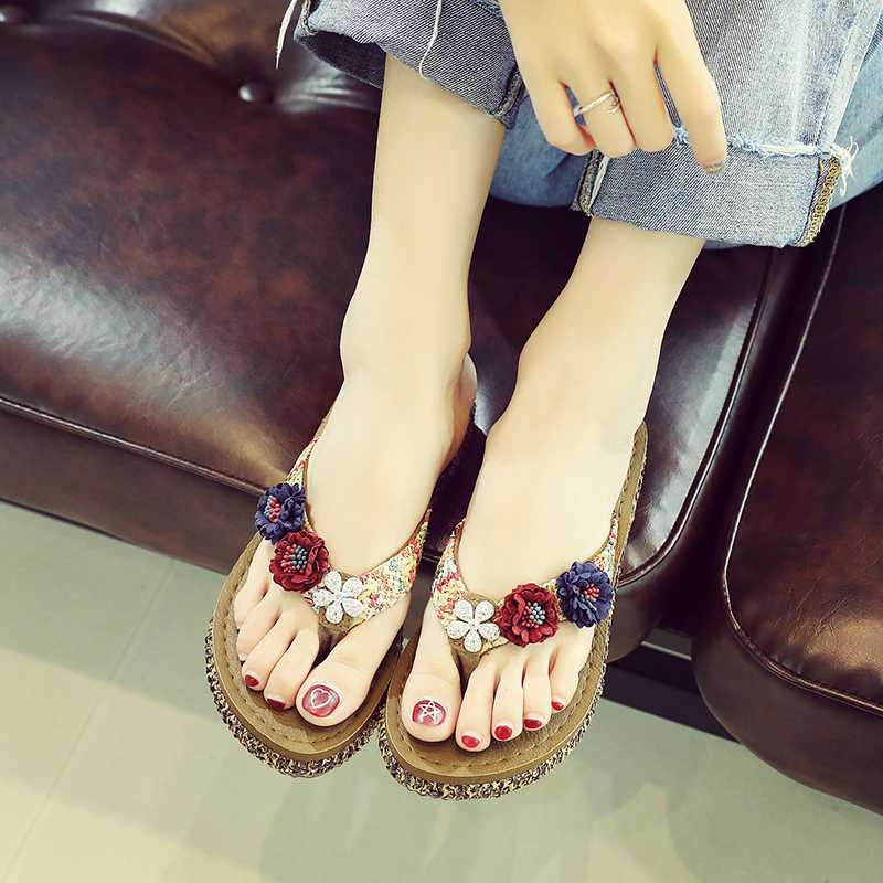 c57093338288 2018 Summer Beach Shoes Women High Platform Sandals Wedge Flip Flops Slope  Handmade Beach Slippers Female