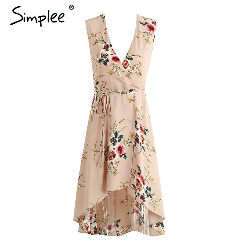 Simplee Profunda v cuello estampado floral sexy vestido Vintage irregular sin ma