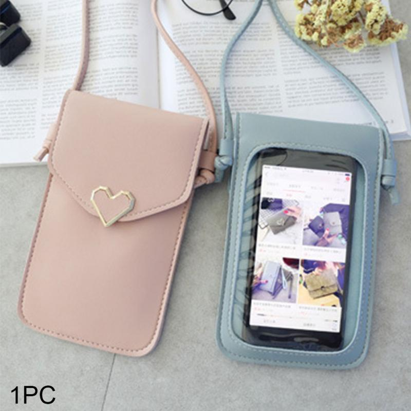Transparent Mini Cross Body Bag Women Touch Screen Mobile Phone Shoulder Bag Heart shaped Ornament PU Leather Bag Snap Button 2 in Top Handle Bags from Luggage Bags