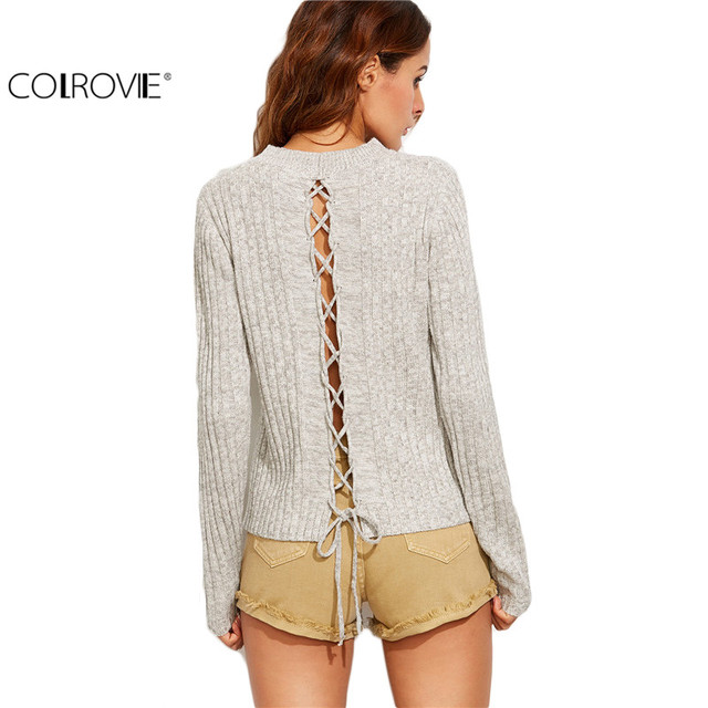 COLROVIE Grey Marled Knit Lace Up Back Ribbed Tops Knit Pullovers Women Round Neck Long Sleeve Loose Sweater