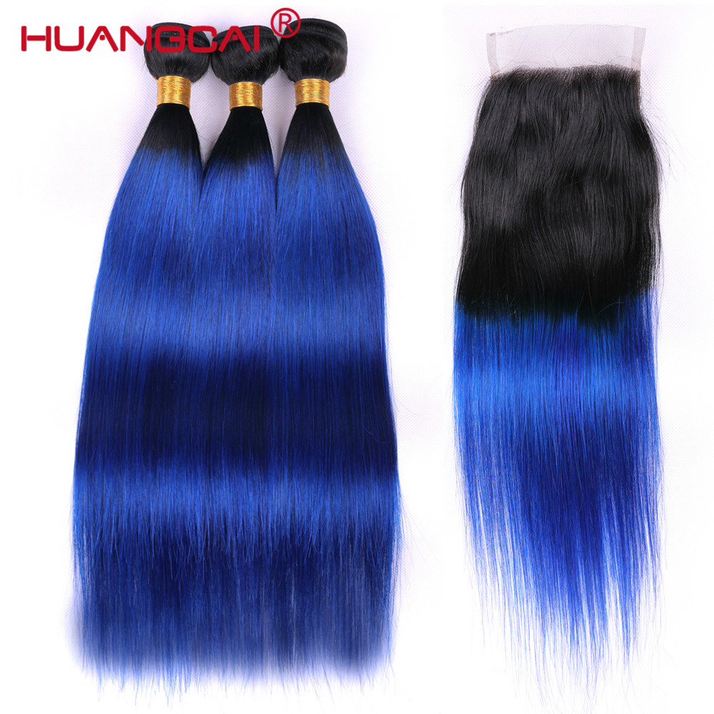 Ombre Bundles With Closure 1B/ Blue Two Tone Human Hair Brazilian Straight Hair 3 Bundles Pack With Closure Remy Hair 8-26inch