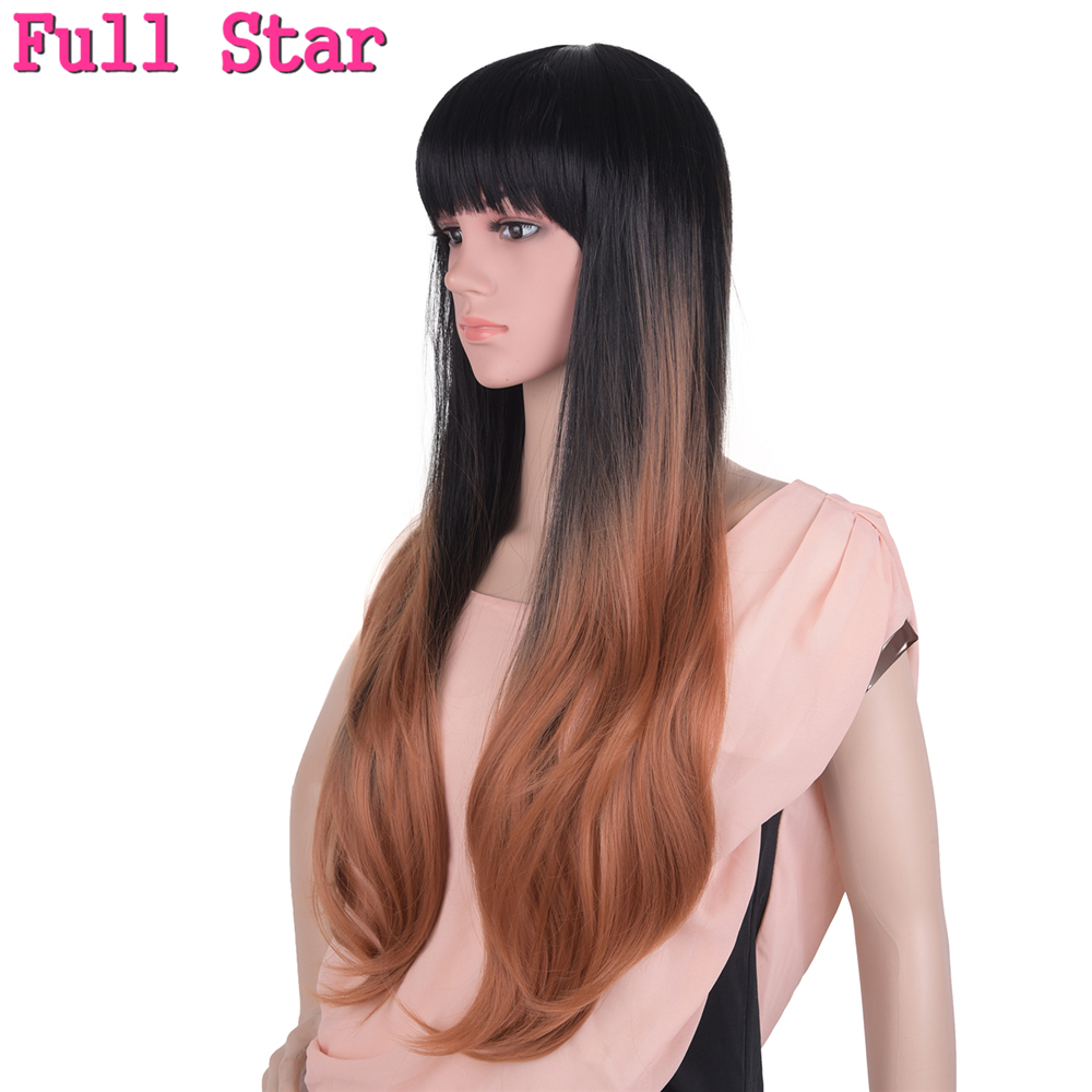 Full Star Brown With Bang Wigs High Temperature Fiber 24 Inch 280g No Lace Full Head Nat ...