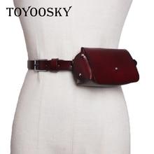 Luxury Women Genuine Leather Belt Cowskin Mini Fanny Bum Pack Detachable Bag For Black Wine Thin Lady