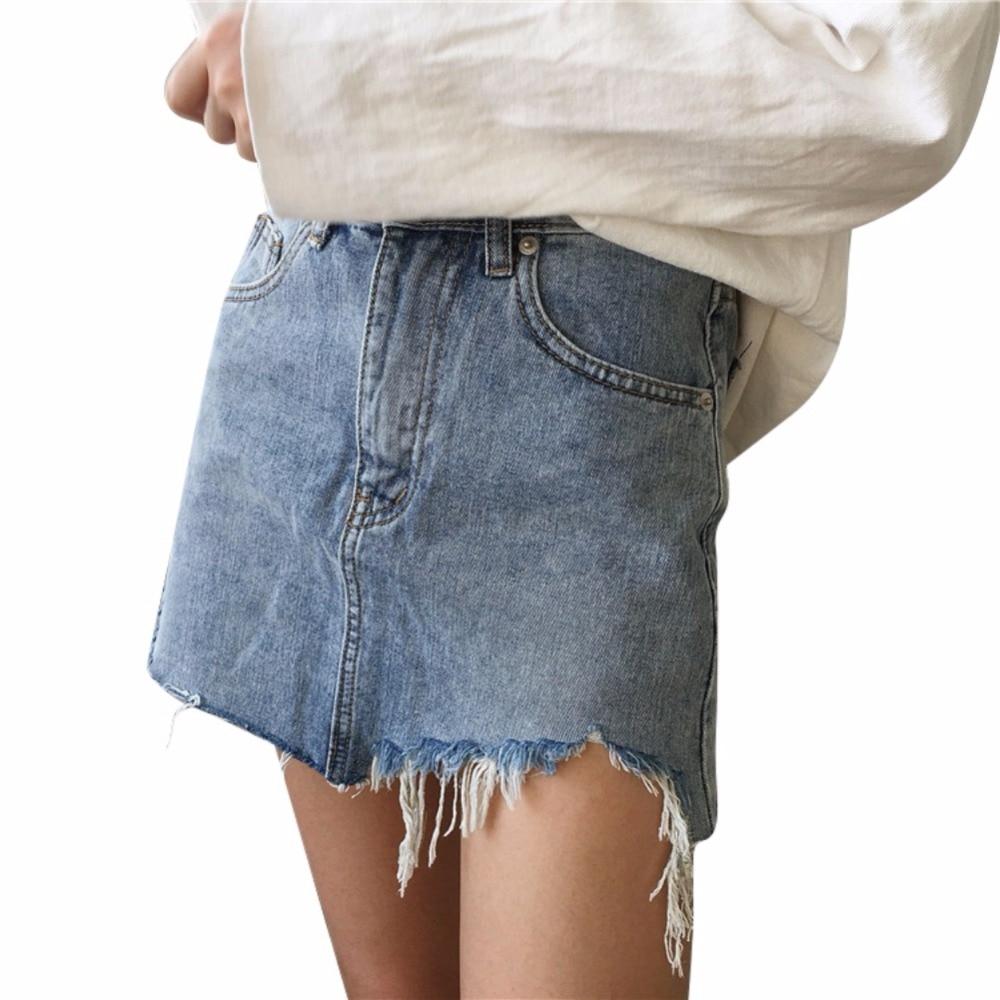Summer Women Fashion Pencil Skirt High Waist Washed Skirts Irregular Edges Denim Skirts All Match Mini Skirt