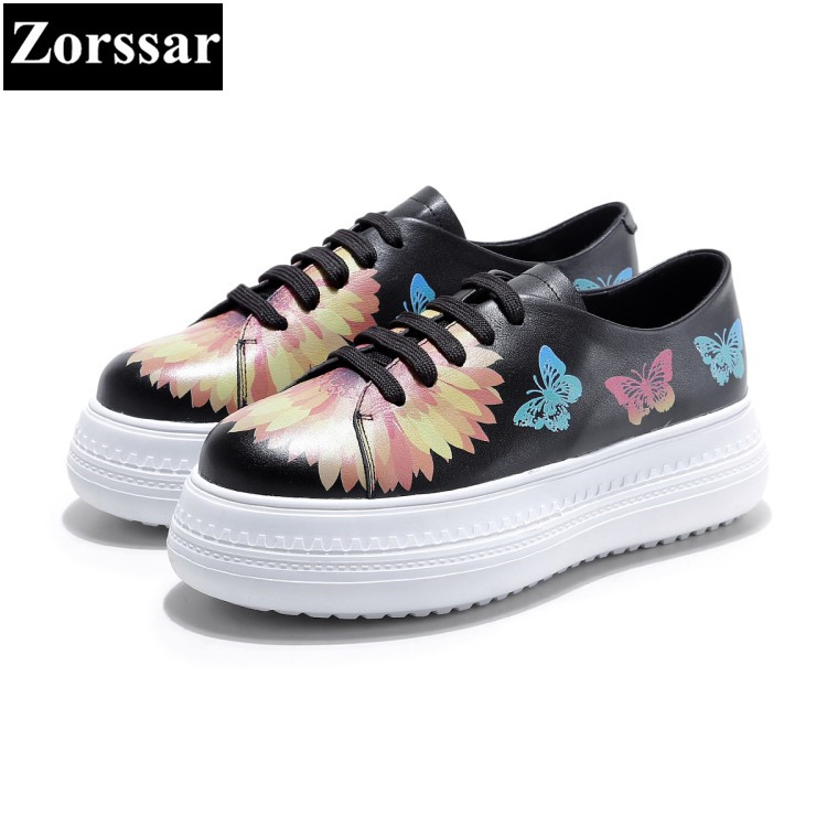 {Zorssar} Brand 2017NEW Fashion flowers Women platform Loafers Female Casual Flat Pointed Toe shoes Genuine leather Womens Flats kbstyle 2017 new spring shoes for women brand pointed toe womens flats fashion young ladies casual shoes hot sale wholesale