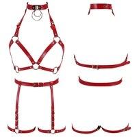 Women Leather Harness Belt Sexy Tops Cage Bra Metal Chain Steampunk Goth Pentagram Dance Underwear Rave Party Night Clubs