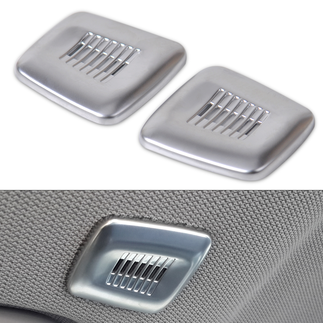 CITALL 2pcs Chrome <font><b>Interior</b></font> Roof Dome Microphone Cover <font><b>Trim</b></font> For <font><b>BMW</b></font> <font><b>F30</b></font> F32 F07 F10 F15 F12 F25 X3 X5 3 4 5 6 Series image