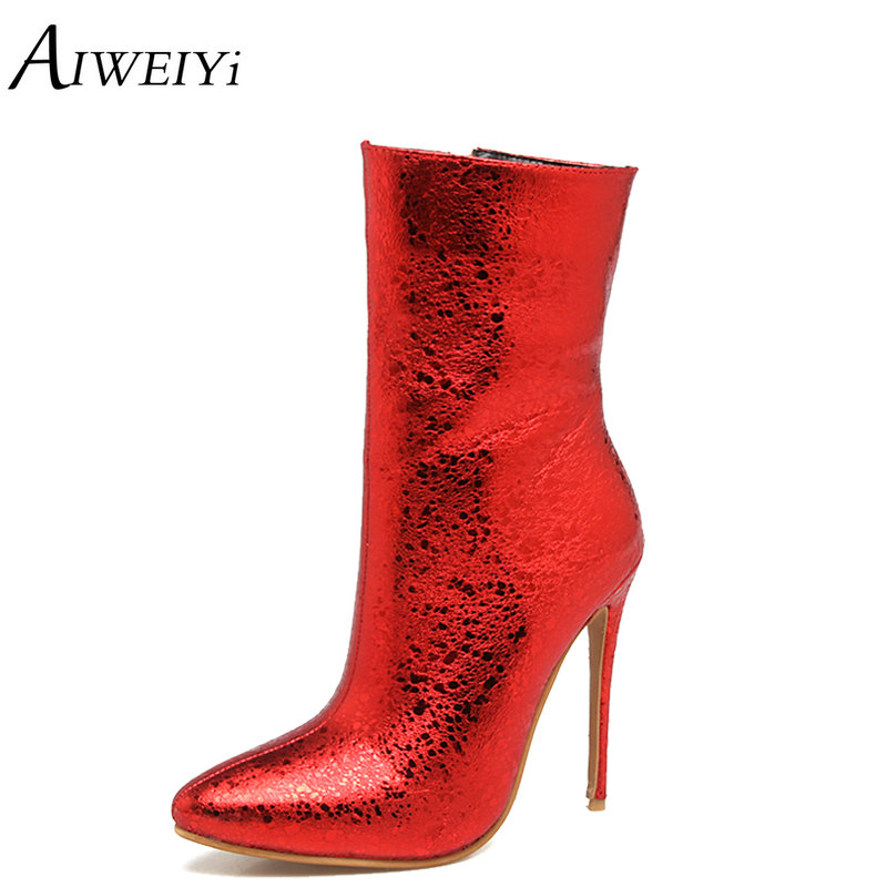 AIWEIYi Sexy Super High Heel Ankle Boots Platform Boots Winter 2018 New Style Bling Bling Women Shoes Glitter Female Shoes qiu dong in fashionable boots sexy and comfortable women s shoes the new national style high heel heel thick heel