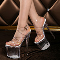 New Fashion Summer Women Pumps 8CM Party Transparent Crystal Platform Gladiator Women Sandals Nightclub Sexy 18CM High Heels