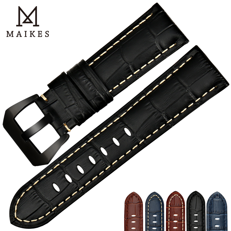 MAIKES New design watchbands 22 24 26mm watch accessories bracelet genuine leather strap watch band black buckle for Panerai maikes 18mm 20mm 22mm watch belt accessories watchbands black genuine leather band watch strap watches bracelet for longines