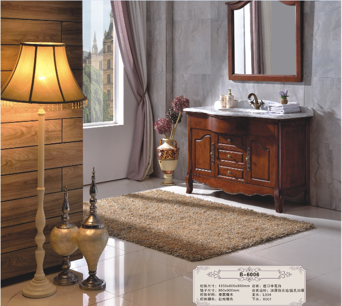 Bathroom cupboard bathroom vanity classic style single sink countertop bathroom cabinets B6006