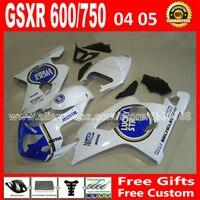 Для 2004 2005 SUZUKI GSXR 600 750 белый синий зализа K4 RIZLA версия gsxr600 EXG 04 05 GSX R750 7 подарки 684