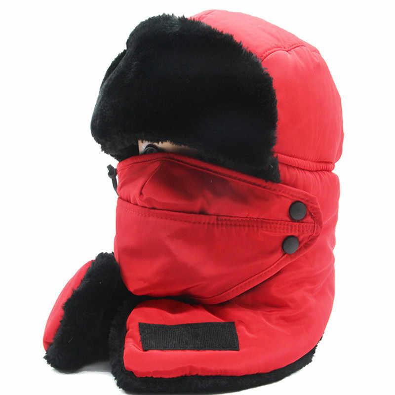 Ski Oto Syal Topi Musim Dingin Hangat Ski Salju Bersepeda Snowboard Tahan Angin Pria Wanita Menebal Perlindungan Telinga Syal + Topi Masker