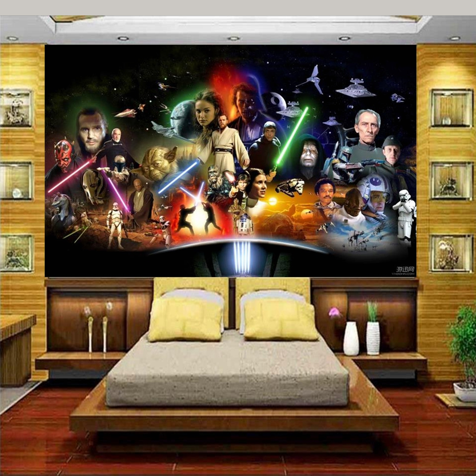 Custom photo 3d bed room wallpaper Non-woven mural 3d Star Wars Star Wars 3d wall murals wallpaper for walls decoration painting free shipping 2016 new updated ce approved 5 nails printing machine nails and flower printer