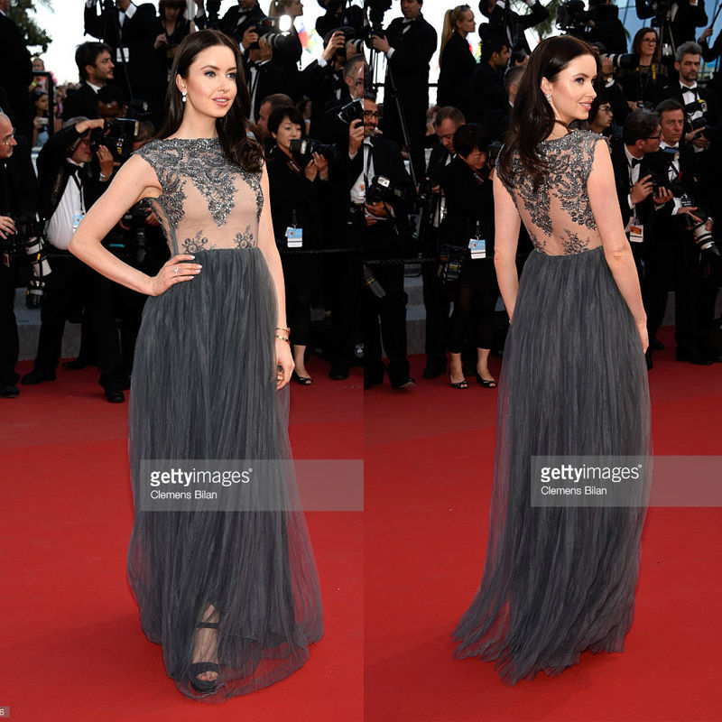 Fan Bingbing 2015 Cannes Red Carpet Celebrity Dresses Flowers Trumpet Deep V -Neck 3 4 Poet Sleeve Sheer Romantic Famous Dresses 02486fe01888