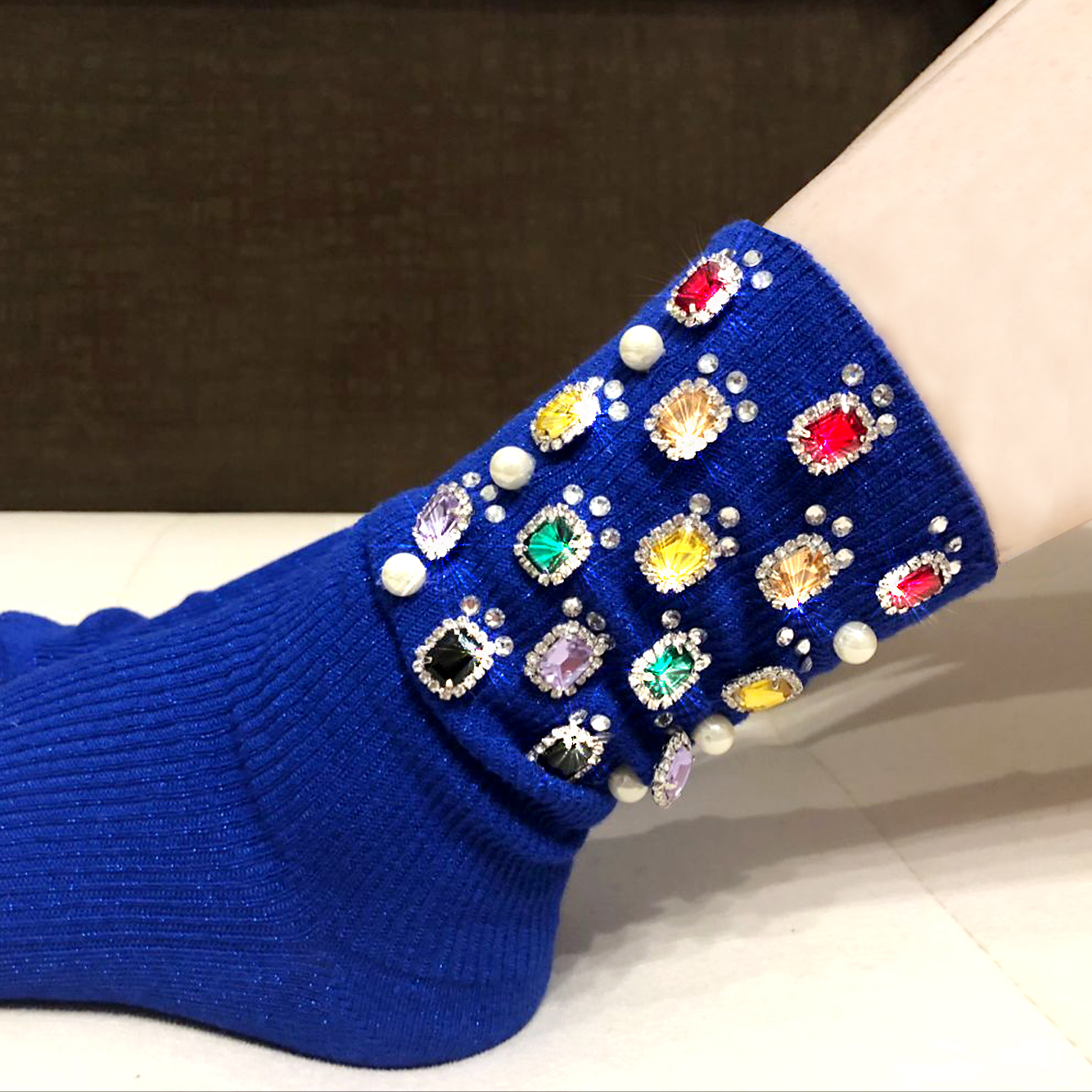 Women's socks custom handmade silver wire rhinestone fashion metal chain in the pile pile female socks fashion socks