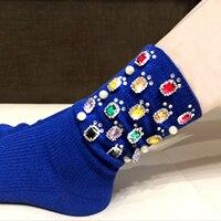 Women's socks custom handmade silver wire rhinestone fashion metal chain in the pile pile female socks fashion socks