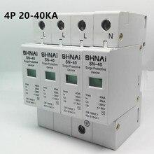 SPD 20KA 40KA 4P overspanningsbeveiliging bescherming apparaat elektrische huis overspanningsbeveiliging C ~ 385V AC