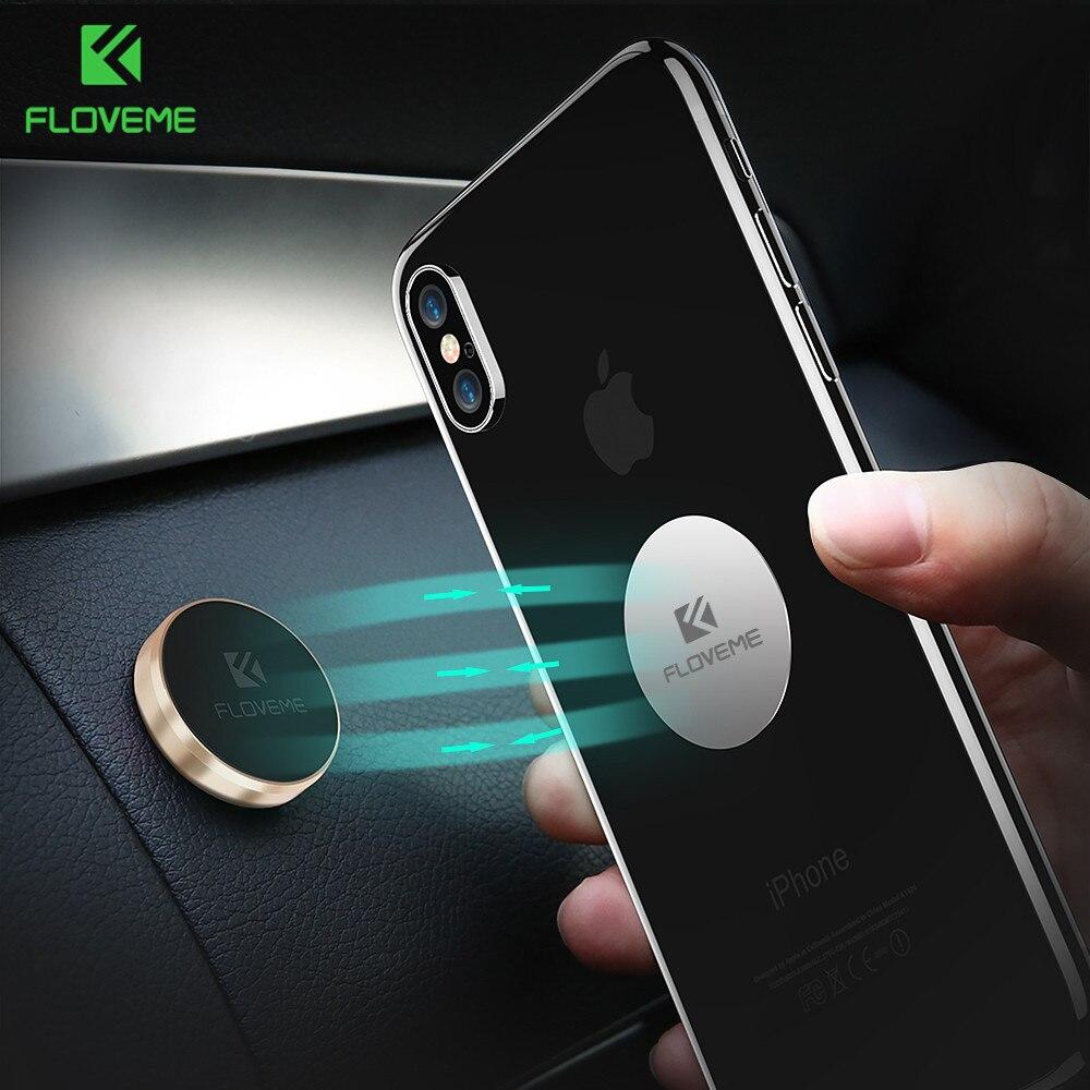 FLOVEME Magnetic Car Phone Holder For Smartphone Metal Magnet Sticker Support Wall Desk Universal Mobile Phone Holder Car Stand smartphone