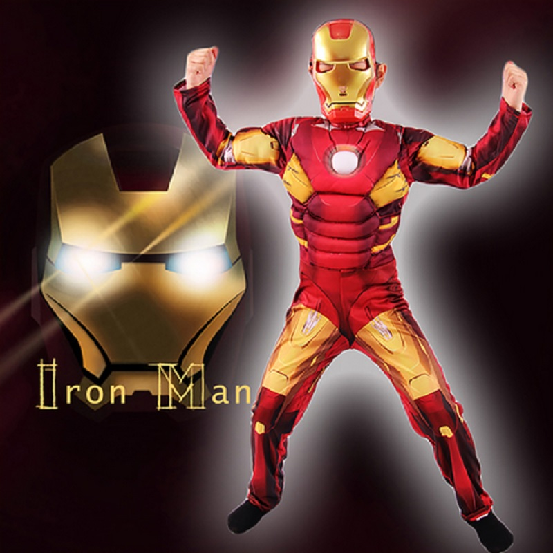Genuine Kids Avengers Iron Man Mark 42 / Patriot Muscle Child Halloween Costume Boys Marvel Movie Superhero Cosplay Clothing