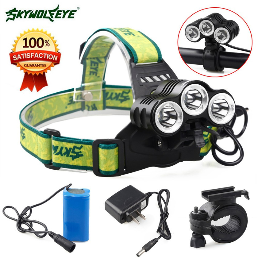 Super Rehargeable 12000 Lm 3 x CREE XML T6 LED Bicycle Head Light 18650 Headlamp Torch 170220 youoklight yks002q5 350lm led 3 mode white light bicycle headlamp black 4 x 18650