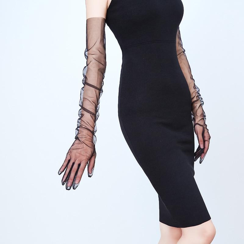 JaneVini Simple Tulle Wedding Gloves for Women Sexy Sheer Long Full Finger Bridal Gloves Bride Elbow Length Brauthandschuhe 2019
