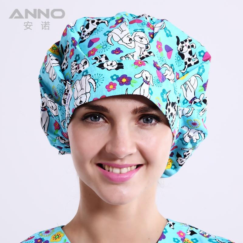 Blue Doggie pattern printing Bon Cap scrub hats Wonmen's  hats suitable for long  hair with comfortable roomble подушка mickey doggie