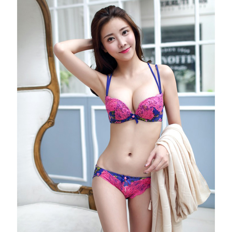 Japanese Fashion Sexy Embroidery Lace Floral Cute Push Up Girls Underwear Bra And Panties Sets Free Shipping
