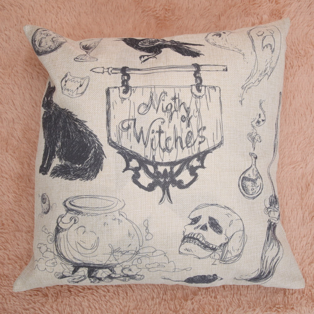 Black Cat Pillow Cases Halloween Ghost Pillowcase Cotton Skull Cushion Cover 45*45cm
